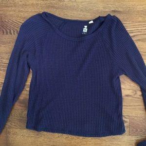 waffle knit cropped long sleeve